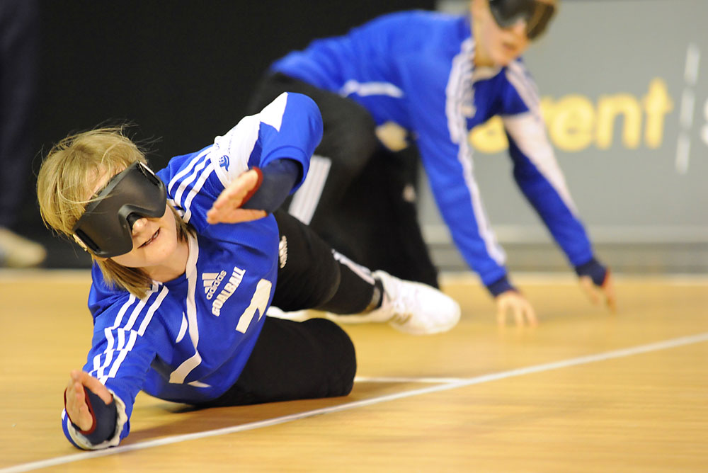 Image of Goalball player defending